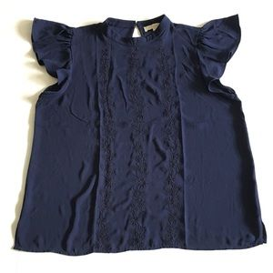ANN TAYLOR LOFT Embroidered Ruffle Blouse XL